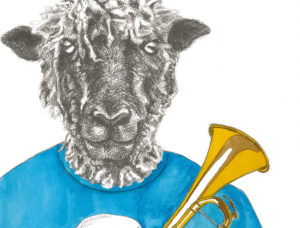 animal band sheep on trumpet