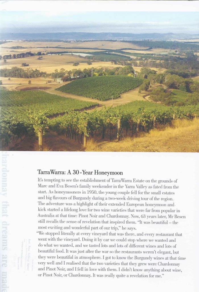 tarrawarra estate 30th birthday booklet page 2
