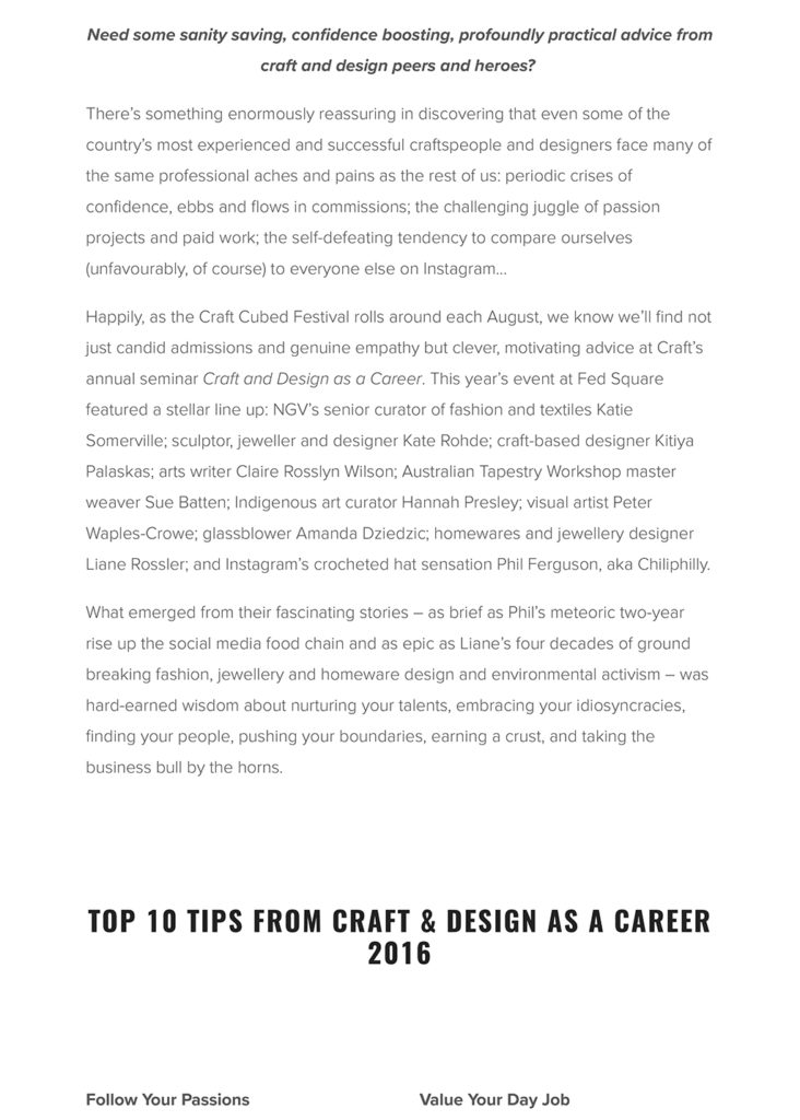 CRAFTING YOUR CAREER BY KATH DOLAN — Craft-2