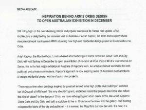 Kath Dolan ARM orbis development media release feat